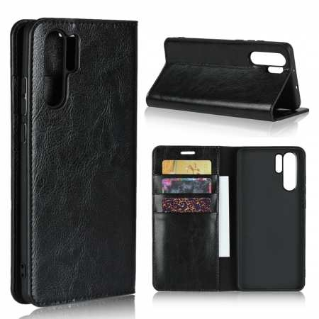 For Huawei P30 Pro Shockproof Flip Card Wallet Leather Case Cover - Black