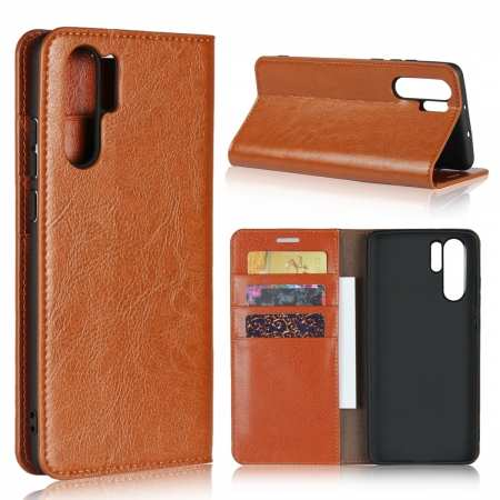 For Huawei P30 Pro Shockproof Flip Card Wallet Leather Case Cover - Brown