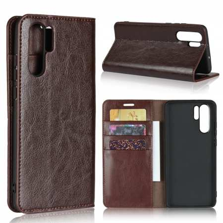 For Huawei P30 Pro Shockproof Flip Card Wallet Leather Case Cover - Coffee