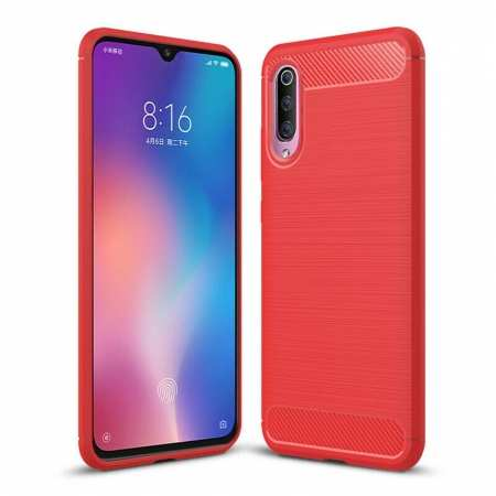 For Samsung Galaxy A50 Shockproof Carbon Fiber Silicone Matte Back Case Cover - Red