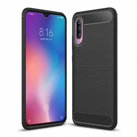 For Samsung Galaxy A50 Shockproof Carbon Fiber Soft Matte Back Case Cover Black