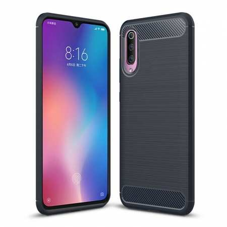 For Samsung Galaxy A50 Shockproof Carbon Fiber Soft Back Case Cover Navy Blue
