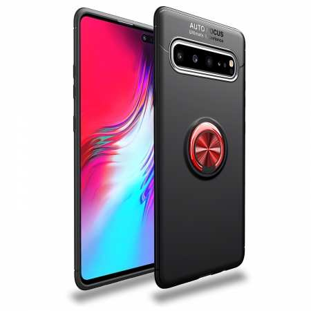 For Samsung Galaxy S10/ S10+ Plus Soft Rubber Shockproof Ring Holder Stand Case Cover - Black&Red