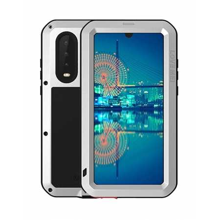 Shockproof Waterproof Aluminum Metal Gorilla Glass Outdoor Case Cover for Huawei P30 - Silver