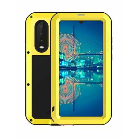 Shockproof Waterproof Gorilla Glass Metal Case Cover for Huawei P30 - Yellow