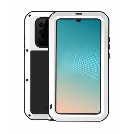 Love Mei for Huawei P30 Metal Armor Heavy Duty Cover Metal Aluminum Case With Tempered Gorilla - White