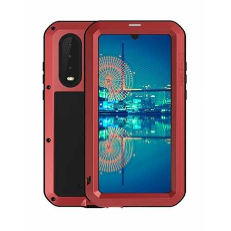 Shockproof Waterproof Gorilla Glass Aluminum Metal Case Cover for Huawei P30 - Red