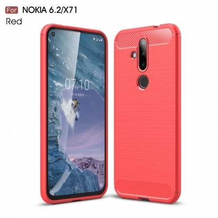 For Nokia X71 / Nokia 6.2 Ultra Light Carbon Fiber Armor Shockproof Brushed Silicone Grip Case - Red