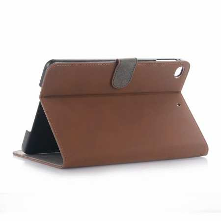 Retro Stand Flip Leather Case for iPad Mini 5 - Dark Brown