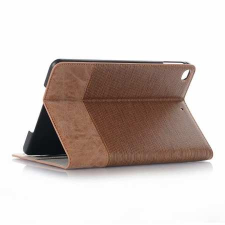 Cross Texture Wallet Leather Stand Case For iPad Mini 5 - Brown