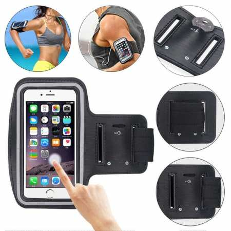For Nokia 6.2 / Nokia X71 Sports Armband Running Jogging Gym Arm Band Pouch Holder Bag Case - Black
