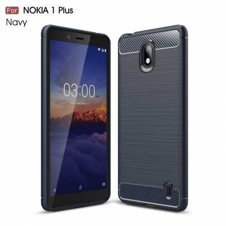 For Nokia 1 Plus Luxury Carbon Fibre Bumper Hard Back Case Cover - Navy Blue