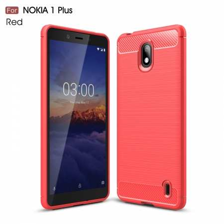 For Nokia 1 Plus Brushed Carbon Fiber Shockproof TPU Case Cover - Red