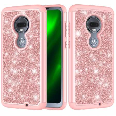 For Motorola Moto G7 / G7 Plus Glitter Case Slim Sparkly Bling Shockproof Cover - Rose Gold