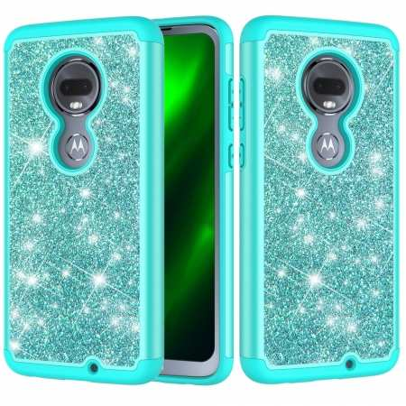 For Motorola Moto G7 / G7 Plus Glitter Bling Shockproof Hybrid Case Cover - Teal