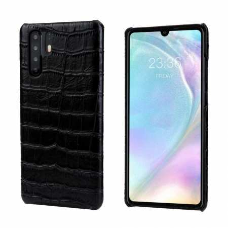 Crocodile Pattern Genuine Leather Back Case For Huawei P30 Pro - Black