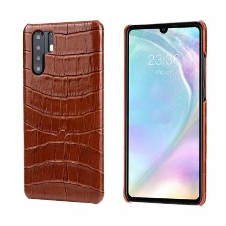 Crocodile Pattern Genuine Leather Back Case For Huawei P30 Pro - Brown
