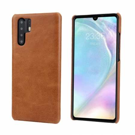 For Huawei P30 Pro Vintage Shockproof Genuine Leather Back Case Cover - Light Brown