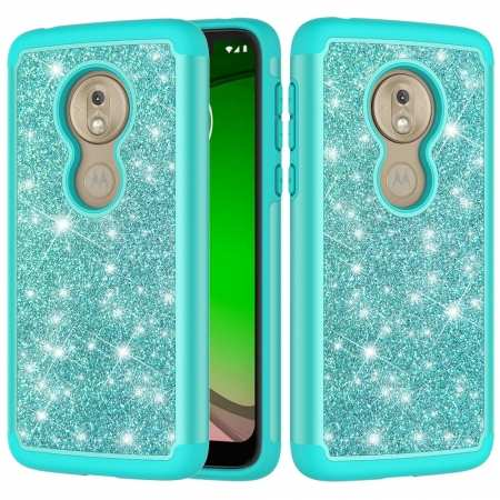 For Motorola Moto G7 Play Phone Case Shockproof Bling Glitter Armor Cover - Teal