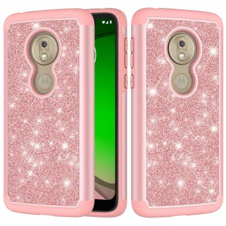 For Motorola Moto G7 Play Case Shockproof Glitter Bling Armor Protective Phone Cover - Rose Gold