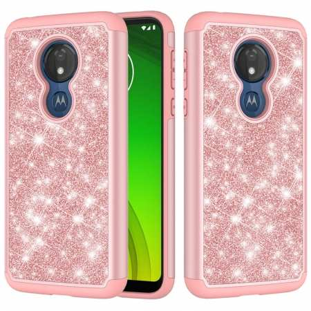 For Motorola Moto G7 Power / G7 Supra Case Glitter Bling Hybrid Armor Shockproof Phone Cover - Rose Gold