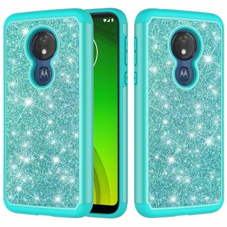 For Motorola Moto G7 Power / G7 Supra Glitter Bling Shockproof Rugged Rose Armor Full Cover Case - Teal