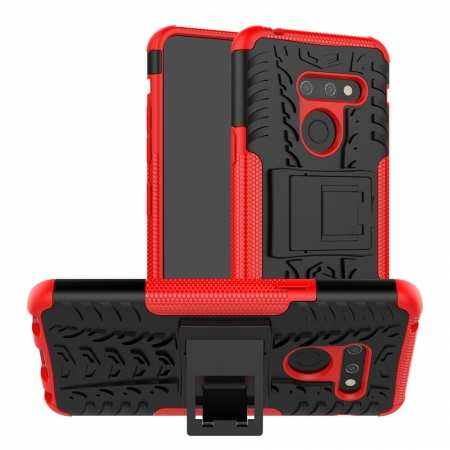 For LG G8 ThinQ Hybrid Shockproof Hard Armor Stand Cover Rugged Protective Case - Red