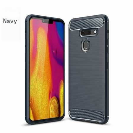 For LG G8 ThinQ Shockproof Carbon Fiber Soft TPU Case Cover - Navy