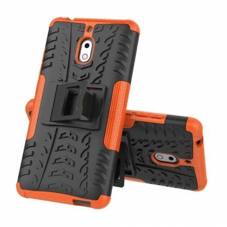 For Nokia 2.1 Rugged Armor Rubber Heavy Duty Hybrid Shockproof Cover Case - Orange