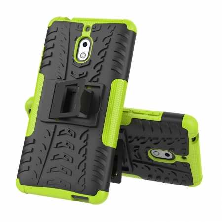 For Nokia 2.1 Hybrid Shockproof Rugged Kickstand Tough Armour Case Cover - Green