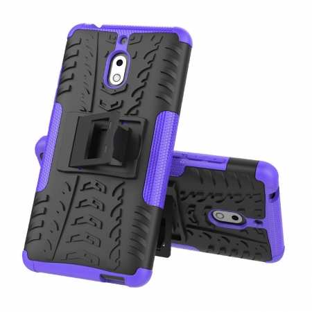 For Nokia 2.1 Heavy Duty Rugged Hybrid Armor PC+TPU Shockproof Cover Case - Purple