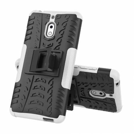 For Nokia 2.1 Heavy Duty Shockproof Rugged Armor Case Hybrid Kickstand Cover - White