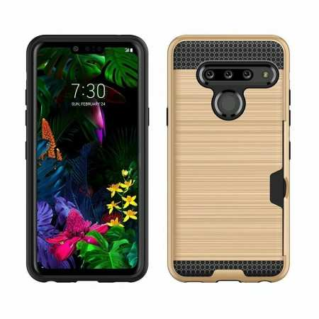 For LG G8 ThinQ Wallet Case Rugged Armor Card Pocket Cover Gold