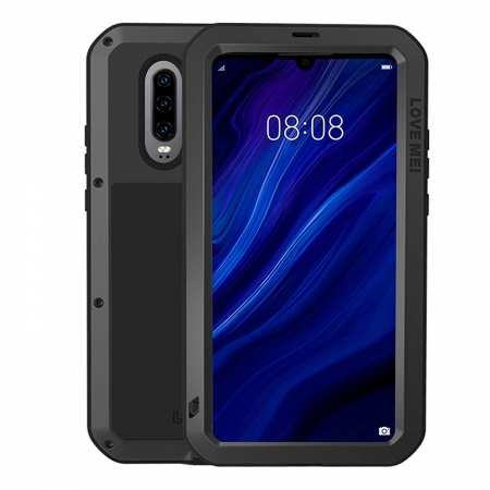 For Huawei P30 Pro 360 Shockproof Case Aluminum Metal Bumper Silicone Black