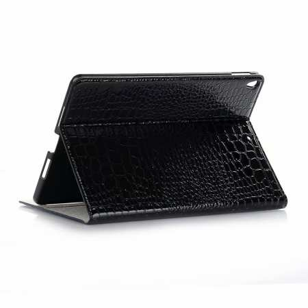 "For iPad Air 10.5"" 2019 Crocodile Skin Pattern Stand Leather Case - Black"