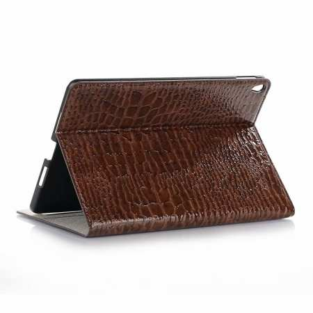 "For iPad Air 10.5"" 2019 Crocodile Skin Pattern Stand Leather Case - Brown"