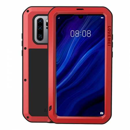 For Huawei P30 Pro Shockproof Waterproof Metal Tempered Glass Case Cover Red