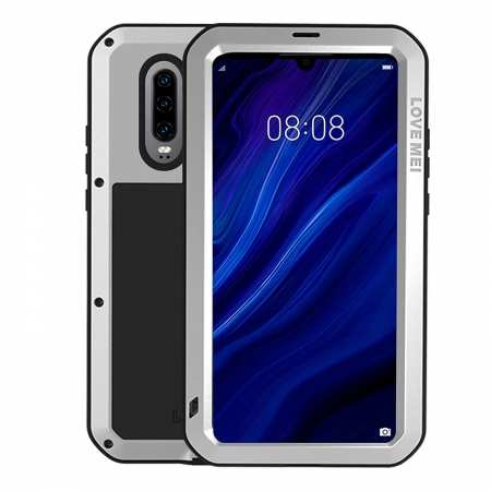 For Huawei P30 Pro Waterproof Alloy Metal Shockproof Case Cover Tempered Glass Silver