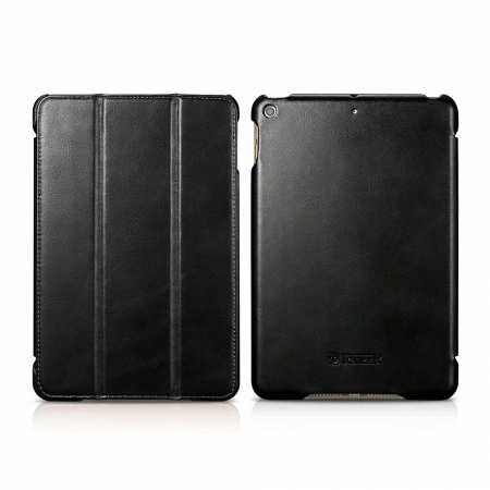 Case for iPad Mini 5 ICARER Genuine Leather Vintage Series - Black