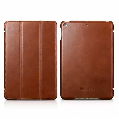 Case for iPad Mini 5 ICARER Genuine Leather Vintage Series - Brown