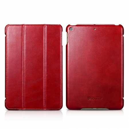 Case for iPad Mini 5 ICARER Genuine Leather Vintage Series - Red