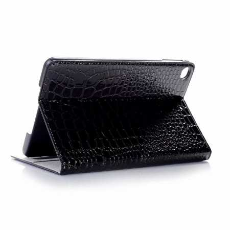 Leather Case for iPad Mini 5 Crocodile Skin Smart Cover - Black