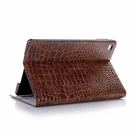 Leather Case for iPad Mini 5 Crocodile Skin Smart Cover - Brown