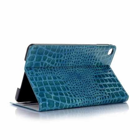 Leather Case for iPad Mini 5 Crocodile Skin Smart Cover - Blue