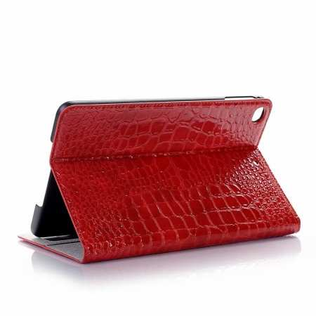 Leather Case for iPad Mini 5 Crocodile Skin Smart Cover - Red