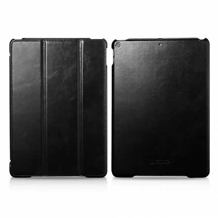 "Case for iPad Air 10.5"" 2019 ICARER Vintage Series Genuine Leather - Black"
