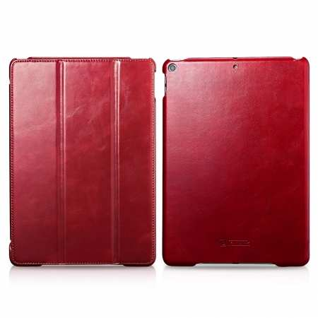 "Case for iPad Air 10.5"" 2019 ICARER Vintage Series Genuine Leather - Red"