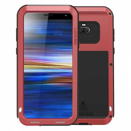 For Sony Xperia 1 Metal Rugged Hybrid Case Silicone With Gorilla Glass Tough Full-Body Cover Red