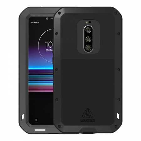 For Sony Xperia 1 Shockproof Waterproof Gorilla Glass Metal Rugged Case Black