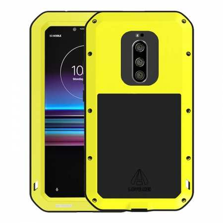 For Sony Xperia 1 Shockproof Waterproof Gorilla Glass Metal Rugged Case Skin Yellow